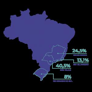 Mapa do Brasil mostrando a concentração de empresas de biotecnologia. Alguns estados estão em destaque e são eles São Paulo, com a concentração de 40,5% das empresas de biotecnologia do país, Minas Gerais com 24,5%, Rio de Janeiro com 13,1% e Rio Grande do Sul com 8%.