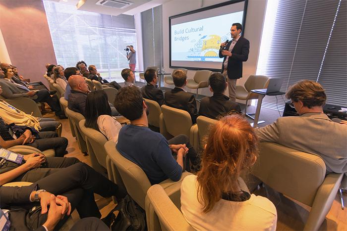 James Weis palestrando no Biotech Invest Day, evento que aconteceu no BiotechTown